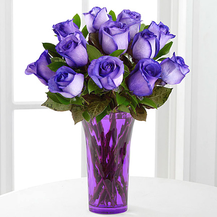 Popping Purple Fiesta Rose Bouquet with Vase