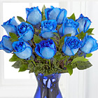 Extreme Blue Hues Fiesta Roses with Vase