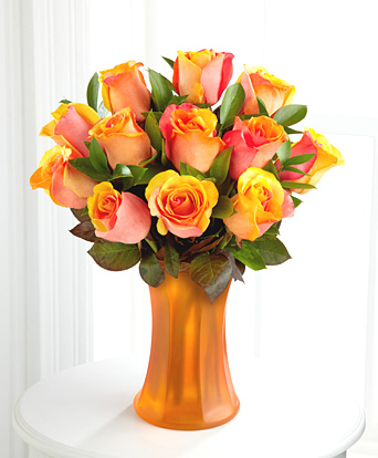 - Fall Fantasy Fiesta Rose Bouquet with Vase