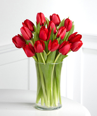 - Red Carpet Ready Tulip Bouquet with Vase