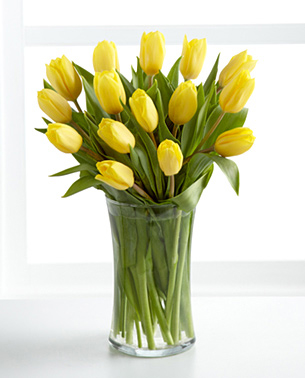 Sunshine''s Promise Tulip Bouquet with Vase