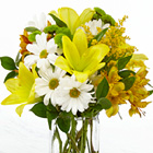 Sunny and Bright Bouquet with Vase