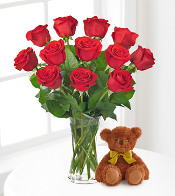 Red Roses and Hugs with Vase