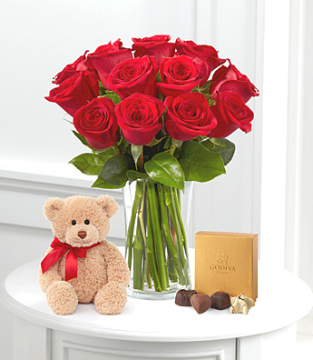 Dozen Red Roses with Bear and Chocolates