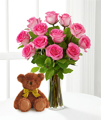 Teddy bear with pink roses - photo#7