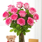 Pink Roses with Bear, Chocolates and Vase