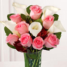 Rose and Lily Celebration with Vase - 13 Stems