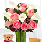 Fabled Beauty with Bear, Chocolates and Vase