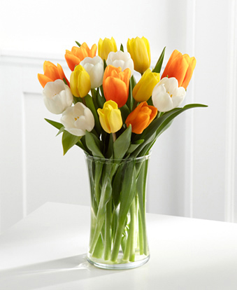 Bright Smiles Tulips with Vase