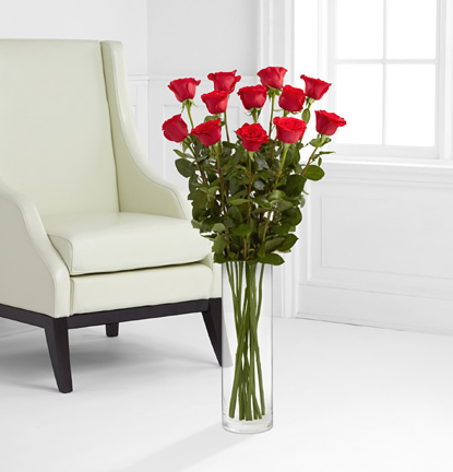 One Dozen Red 3 Ft. Roses with Vase