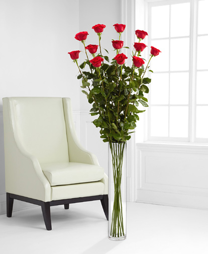 - One Dozen Red 5- Ft. Roses with Vase