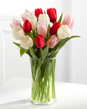 Here Is My Heart Tulip Bouquet with Vase