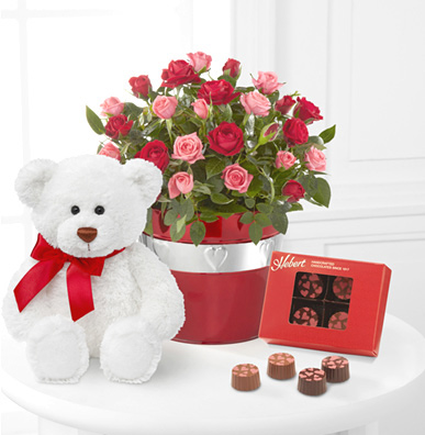- Lots of Love 6.5-Inch Mini Rose with Chocolates and Bear