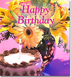 happy birthday' virtual flowers and cake by florals, Birthday card